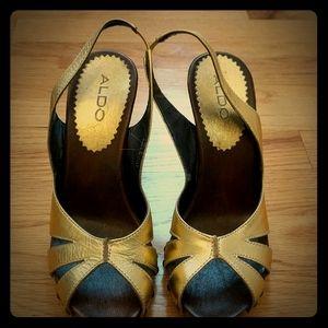 Also gold platform wood heel sandals slingback